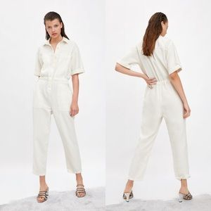 Zara White Rustic Button Up Jumpsuit NEW XS